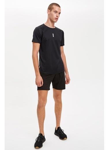 DeFacto Baskılı Extra Slim Fit Spor Tişört Siyah